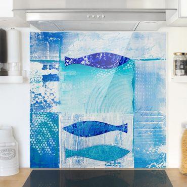 Spritzschutz Glas - Fish in the Blue - Quadrat 1:1