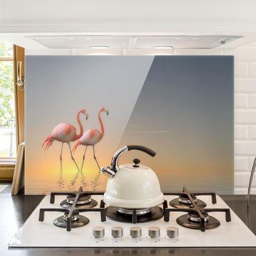 Spritzschutz Glas - Flamingo Love - Quer 3:2