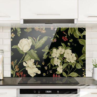 Spritzschutz Glas - Gartenblumen auf Schwarz I - Querformat 2:3
