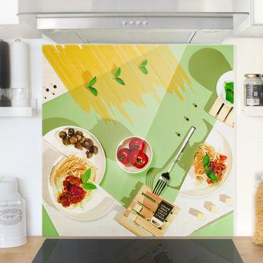Spritzschutz Glas - Geometrie in der Küche - Quadrat 1:1