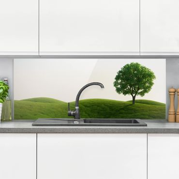 Spritzschutz Glas - Grüne Ruhe - Panorama Quer