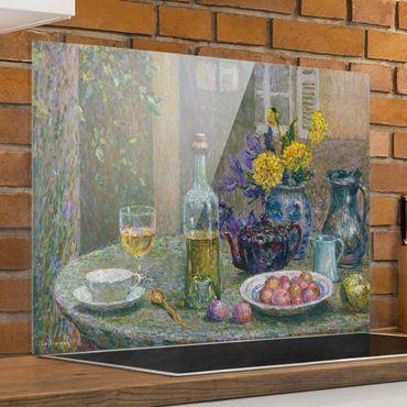 Spritzschutz Glas - Henri Le Sidaner - Gelbe Dahlien - Quer 4:3