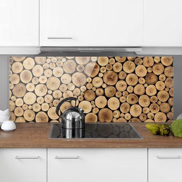 Spritzschutz Glas - Homey Firewood - Panorama Quer