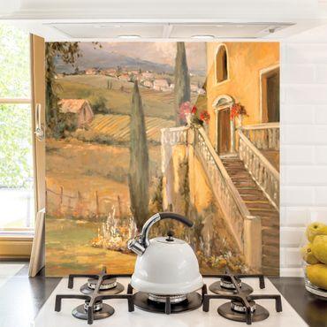 Spritzschutz Glas - Italienische Landschaft - Haustreppe - Quadrat 1:1