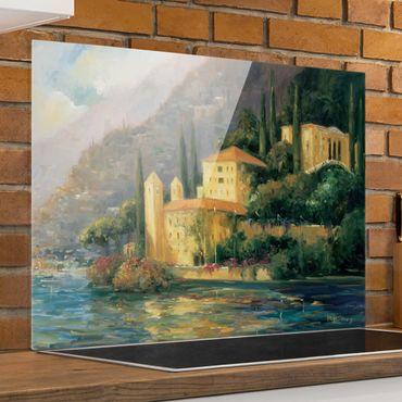 Spritzschutz Glas - Italienische Landschaft - Landhaus - Querformat 3:4
