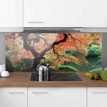 Spritzschutz Glas - Japanischer Garten - Panorama Quer