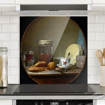 Spritzschutz Glas - Jean-Baptiste Siméon Chardin - Glas mit Aprikosen - Quadrat 1:1