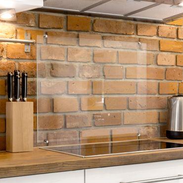 Spritzschutz Küche Glas transparent inkl. Klemmbefestigung - Herd Quadrat 1:1