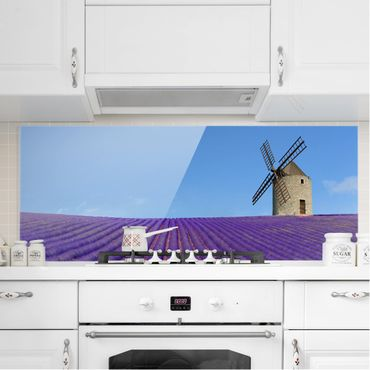 Spritzschutz Glas - Lavendelduft in der Provence - Panorama Quer