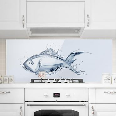 Spritzschutz Glas - Liquid Silver Fish - Panorama Quer
