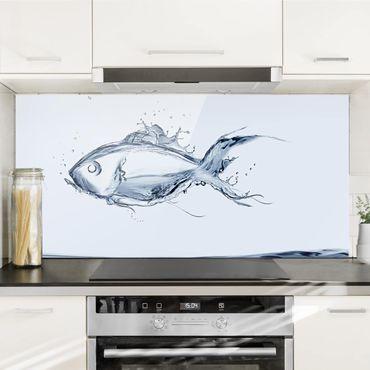 Spritzschutz Glas - Liquid Silver Fish - Quer 2:1