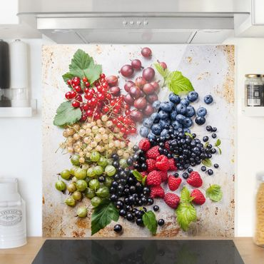 Spritzschutz Glas - Mischung aus Beeren auf Metall - Quadrat 1:1