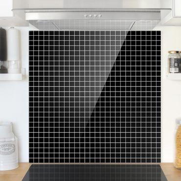 Spritzschutz Glas - Mosaikfliesen Schwarz Matt - Quadrat 1:1