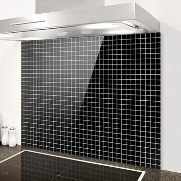 Spritzschutz Glas - Mosaikfliesen Schwarz Matt - Querformat 3:2