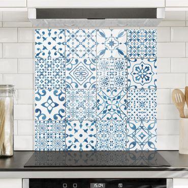 Spritzschutz Glas - Musterfliesen Blau Weiß - Quadrat 1:1