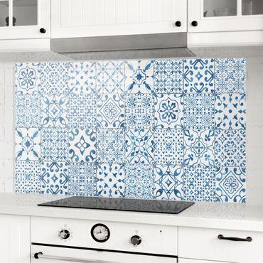 Spritzschutz Glas - Musterfliesen Blau Weiß - Querformat 3:2