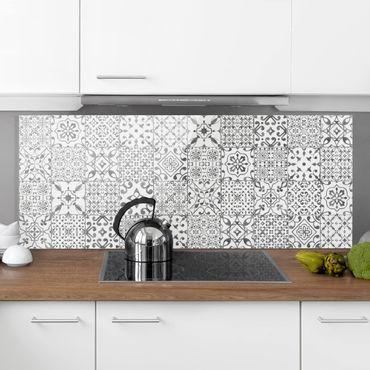 Spritzschutz Glas - Musterfliesen Grau Weiß - Panorama
