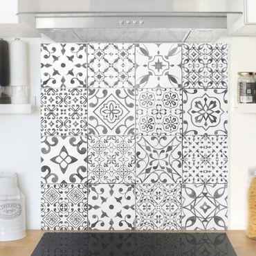 Spritzschutz Glas - Musterfliesen Grau Weiß - Quadrat 1:1