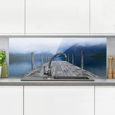 Spritzschutz Glas - Nelson Lakes National Park Neuseeland - Panorama Quer