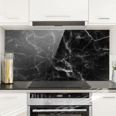 Spritzschutz Glas - Nero Carrara - Schwarzer Marmor Marmoroptik - Quer 2:1
