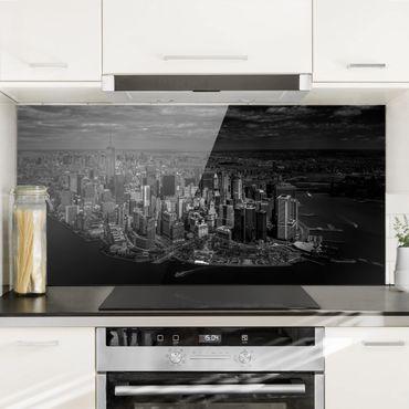 Spritzschutz Glas - New York - Manhattan aus der Luft - Querformat 1:2