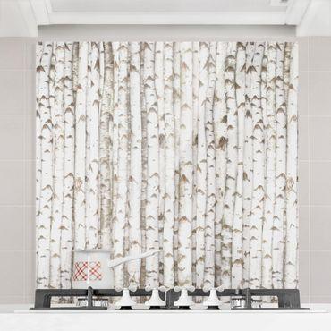 Spritzschutz Glas - No.YK15 Birkenwand - Quadrat 1:1
