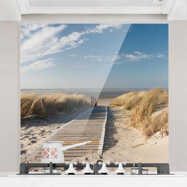 Spritzschutz Glas - Ostsee Strand - Quadrat 1:1