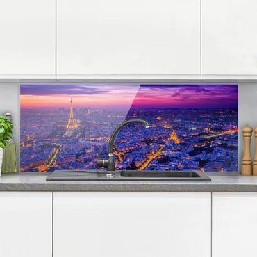 Spritzschutz Glas - Paris bei Nacht - Panorama