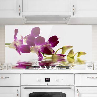 Spritzschutz Glas - Pink Orchid Waters - Quer 2:1