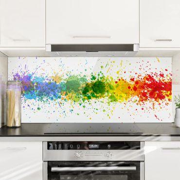 Spritzschutz Glas - Rainbow Splatter - Panorama Quer
