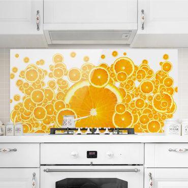 Spritzschutz Glas - Retro Orange Pattern - Quer 2:1