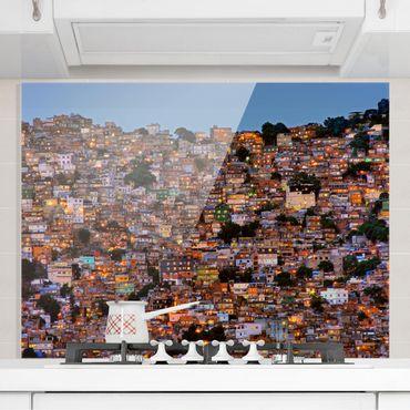 Spritzschutz Glas - Rio de Janeiro Favela Sonnenuntergang - Querformat 3:4