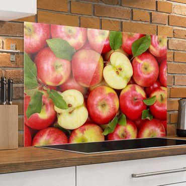 Spritzschutz Glas - Saftige Äpfel - Quer 3:2