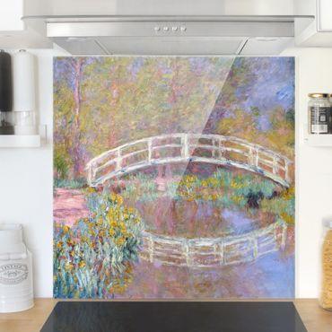 Spritzschutz Glas - Claude Monet - Brücke Monets Garten - Quadrat 1:1