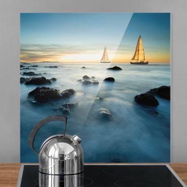 Spritzschutz Glas - Segelschiffe im Ozean - Quadrat 1:1