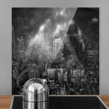Spritzschutz Glas - Sonnenlicht über New York City - Quadrat 1:1