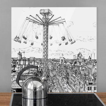 Spritzschutz Glas - Stadtstudie - Kettenkarussell - Quadrat 1:1
