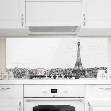 Spritzschutz Glas - Stadtstudie - Paris - Panorama