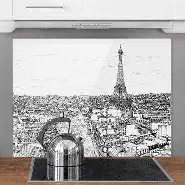 Spritzschutz Glas - Stadtstudie - Paris - Querformat 3:4