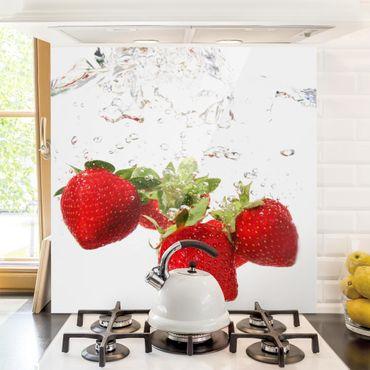 Spritzschutz Glas - Strawberry Water - Quadrat 1:1