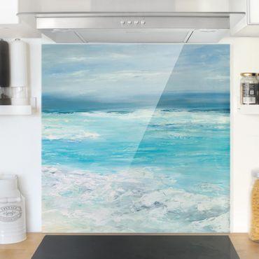 Spritzschutz Glas - Sturm auf dem Meer II - Quadrat 1:1