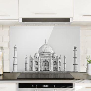 Spritzschutz Glas - Taj Mahal in Grau - Querformat 2:3