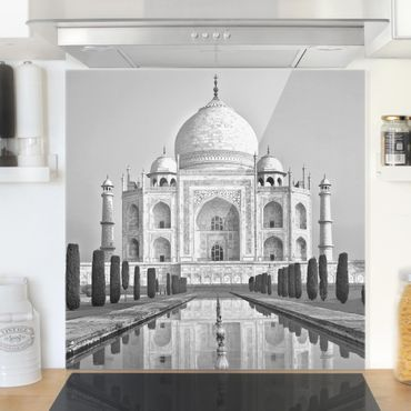 Spritzschutz Glas - Taj Mahal mit Garten - Quadrat 1:1