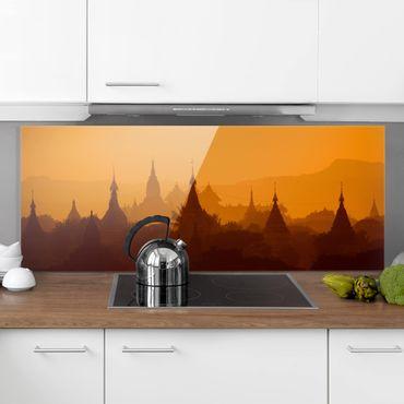 Spritzschutz Glas - Tempelstadt in Myanmar - Panorama Quer