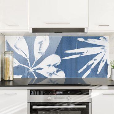 Spritzschutz Glas - Tropische Blätter Indigo I - Panorama