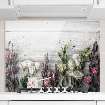 Spritzschutz Glas - Tulpen-Rose Shabby Holzoptik - Quer 2:1