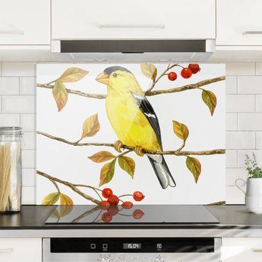 Spritzschutz Glas - Vögel und Beeren - Goldzeisig - Querformat 3:4