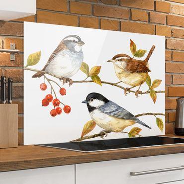 Spritzschutz Glas - Vögel und Beeren - Meisen - Querformat 2:3