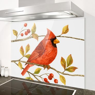 Spritzschutz Glas - Vögel und Beeren - Rotkardinal - Querformat 3:4