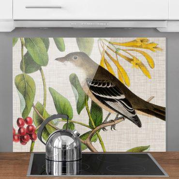 Spritzschutz Glas - Vogel auf Leinen Gelb II - Querformat 3:4